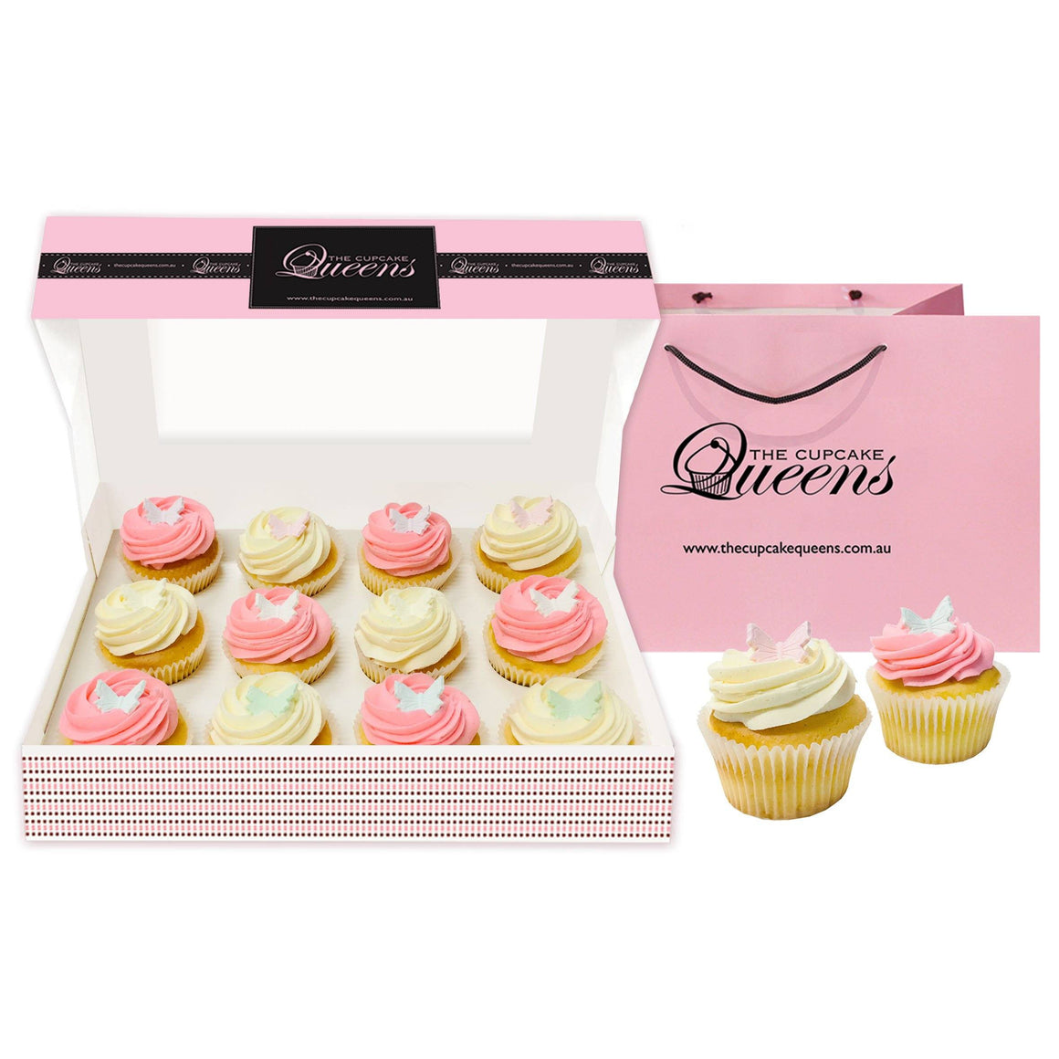 Pink Vanilla Butterfly Gift Box Cupcakes The Cupcake Queens