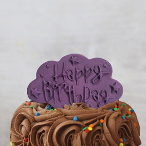 Purple Happy Birthday Cake Plaque