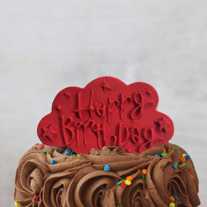 Red Happy Birthday Cake Plaque Gift Accessories
