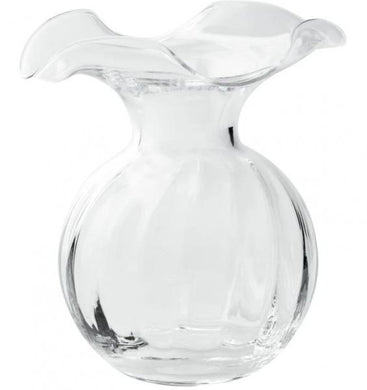 Vietri Hibiscus Clear Glass Fluted Vase