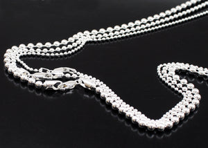 Mens Ball Chain Necklace in Sterling Silver