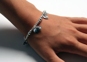 Mothers Day Bracelet with Initials on Hearts and Birthstones in Sterling Silver