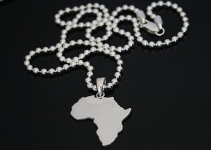Large Africa Necklace on Ball Chain Solid Silver