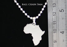 Load image into Gallery viewer, Large Africa Necklace on 3mm Ball Chain Solid Silver