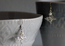 Load image into Gallery viewer, Sterling Silver Filigree Butterfly Earrings