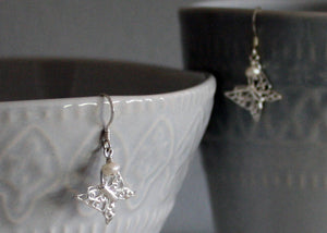 Sterling Silver Filigree Butterfly Earrings