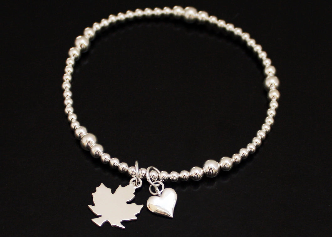 Maple Leaf Bracelet in Sterling Silver
