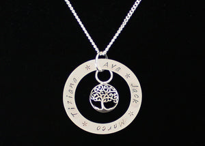 Sterling Silver Family Names Tree of Life Necklace