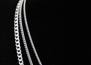 Wide Curb Chain Sterling Silver Necklace