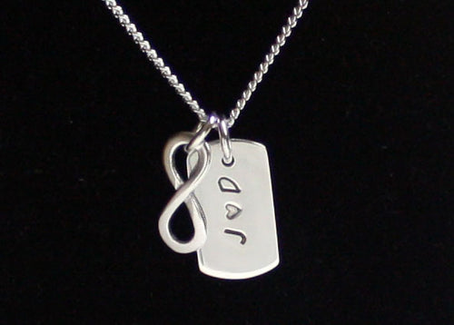 Personalized Dog Tag Necklace with Infinity Symbol in Sterling Silver