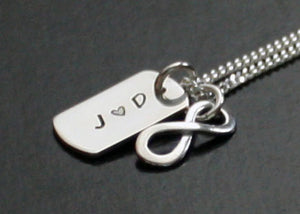 Womens Dog Tag Necklace with Infinity Symbol