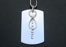 Load image into Gallery viewer, Personalized Dog Tag Necklace Military Size (Large) with Infinity Symbol in Sterling Silver