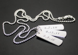 Womens Dog Tag Necklace with names and dates