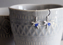 Load image into Gallery viewer, Dragonfly Earrings in Sterling Silver with Birthstones