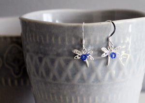 Dragonfly Earrings in Sterling Silver with Birthstones