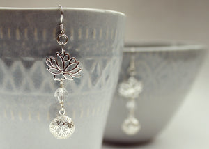 Lotus Flower Seed of Life Pierced Earrings