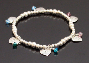 Initials and Hearts Bracelet