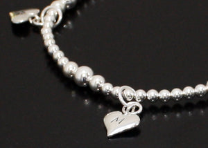 Heart Bracelet Personalized with Initials in Sterling Silver
