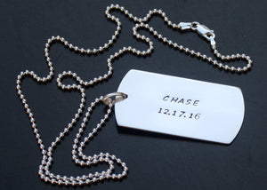 Personalized Dog Tag Necklace Military Size (Large) with Infinity Symbol in Sterling Silver
