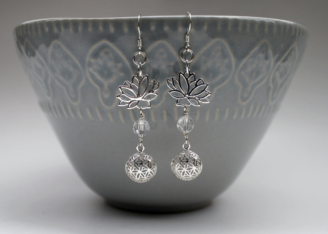 Lotus Flower Earrings in Sterling Silver