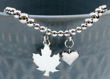 Load image into Gallery viewer, Heart and Maple Leaf Bracelet