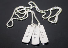 Load image into Gallery viewer, Dog Tag Necklace Three Date Tags