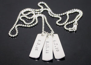 Dog Tag Necklace Three Date Tags