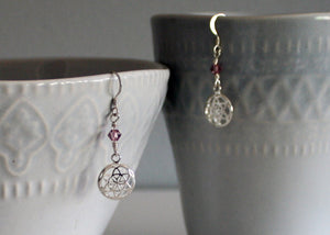 Seed of Life Pierced Earrings with Birthstones Sterling Silver