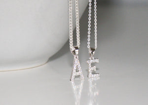 Sterling Silver Initial Necklace with Cubic Zirconia