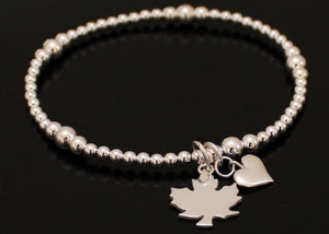 Heart and Maple Leaf Bracelet