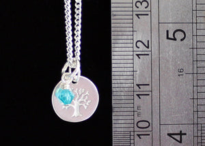 Sterling Silver Tree of Life necklace with Birthstone