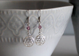 Flower of Life Earrings with Birthstones in Sterling Silver