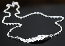 Load image into Gallery viewer, Sterling Silver Feather Necklace