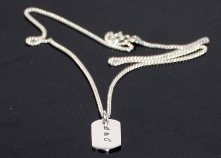 Dog Tag Necklace Sterling Silver with Initials
