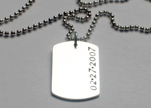 Dog Tag Necklace Sterling Silver
