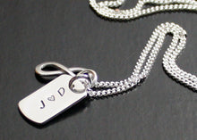 Load image into Gallery viewer, Dog Tag Necklace Sterling Silver with Initials