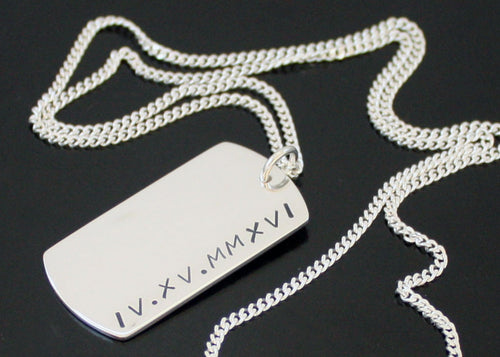 Roman Numeral Dog Tag Necklace