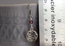 Load image into Gallery viewer, Seed of Life Pierced Earrings with Birthstones Sterling Silver
