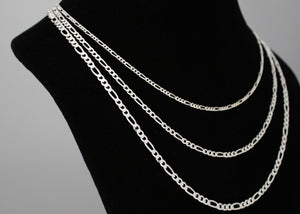 Sterling Silver Figaro Chain Womens Necklace
