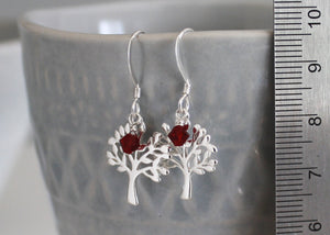 Tree of Life Earrings with Birthstones in Sterling Silver