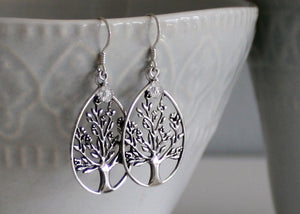 Tree of Life Earrings with Crystal Birthstones