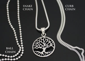 Tree of Life with Ball, Curb and Snake Chain
