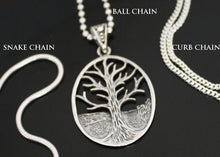 Load image into Gallery viewer, Tree of Life Necklace Ball Snake Curb Chain