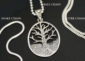 Tree of Life Necklace Ball Snake Curb Chain