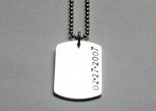 Load image into Gallery viewer, Womens Dog Tag Necklace with date