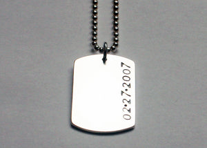 Womens Dog Tag Necklace with date