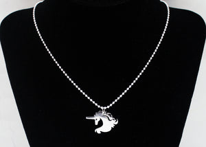 Horse Unicorn Necklace in Sterling Silver