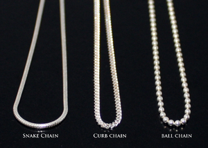 Ball Chain Necklace, Snake Chain Necklace, Curb Chain Necklace in Sterling Silver