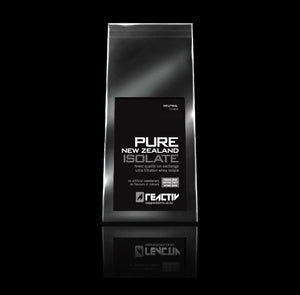 Pure New Zealand Whey Protein Isolate – Low carbohydrates, and very low lactose Whey.