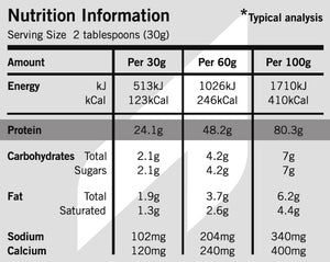 Pure NZ Primal Whey Protein Powder Nutrition Information